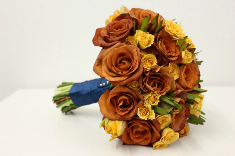 Fall Wedding Bouquet with Coffee Break Roses Anissa Rae Flowers