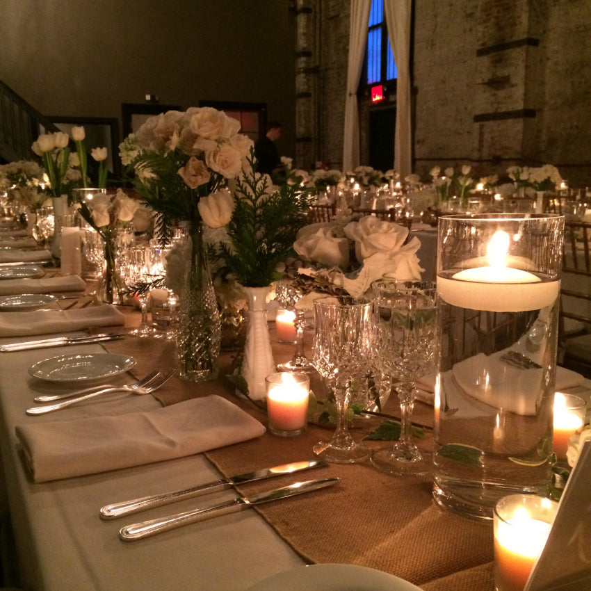 Vintage Bottle and Milk Glass Wedding Long Table Flowers Anissa Rae NYC Florist