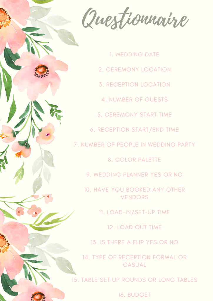 Wedding Flower Consultation Questionnaire for Anissa Rae Flowers NYC