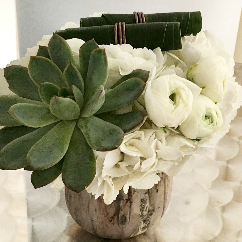Succulents in Flower Centerpieces by NYC Florist Anissa Rae Flowers