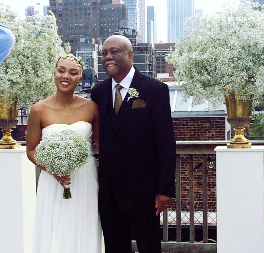 Baby's breath wedding ceremony arrangements and bridal bouquet outdoor wedding in NYC Anissa Rae Flowers