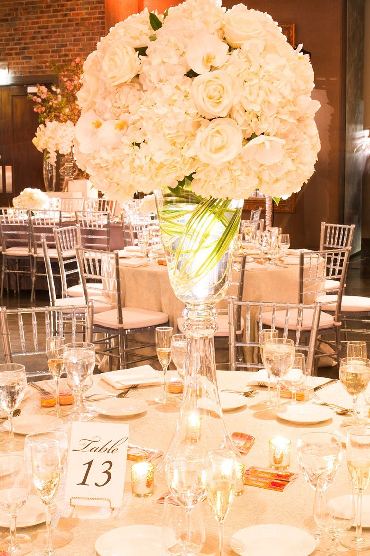 Tall White Wedding Centerpieces The Village Club at Lake Success by Anissa Rae Flowers NYC