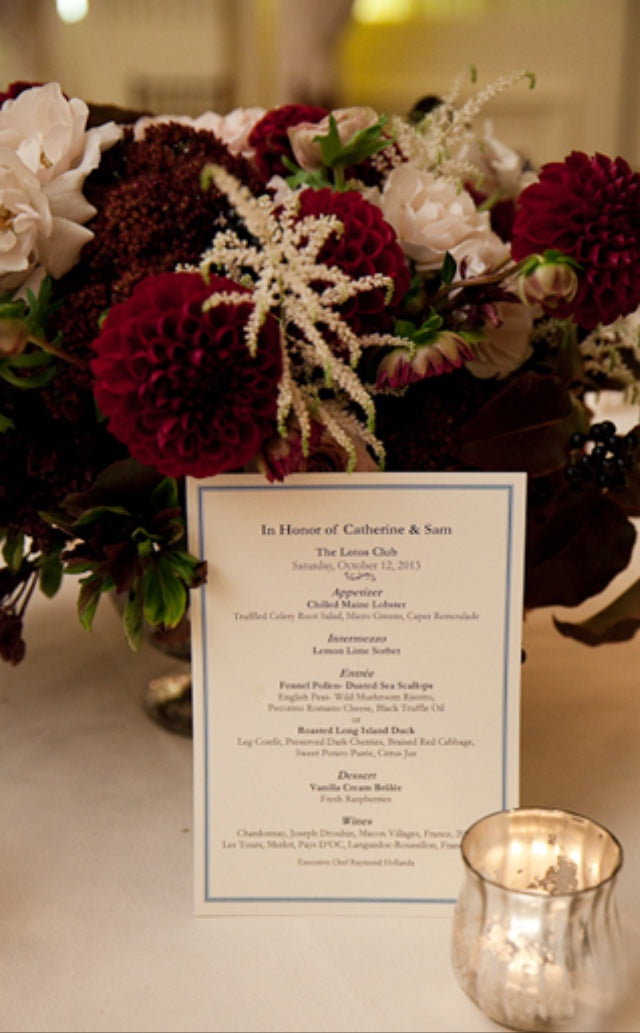 Beautiful fall wedding centerpiece in burgundy and blush flowers by Anissa Rae Flowers Lotos Club NYC