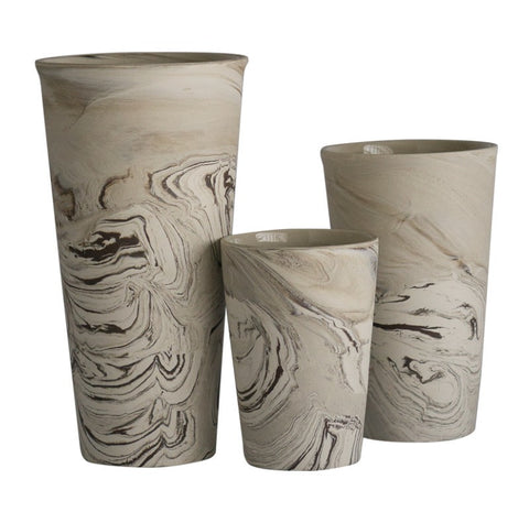 Tapered agate pottery vases in ivory and brown hues