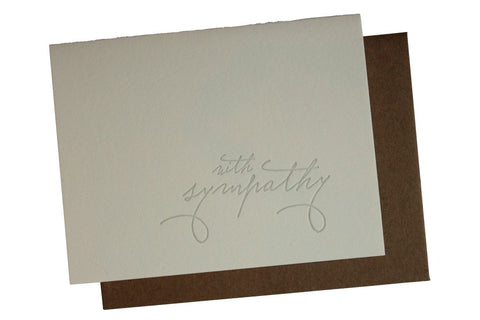 With Sympathy Letterpress Card Blank Inside
