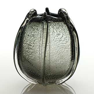 Bowl Shaped Grey Smoke Hued Glass Vase for flowers
