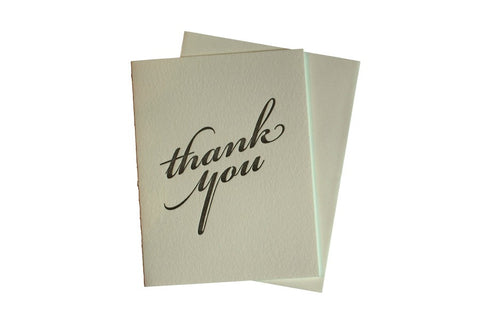 Letterpress Card Thank You Outside and Blank Inside