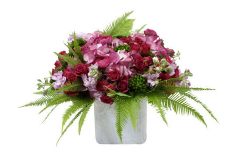 Flower Arrangement in Shades of Pink and Touches of Green