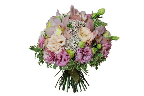 Hand tied flower bouquet in soft pastel colors