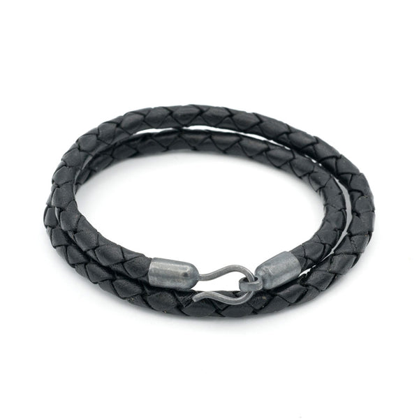 Braided Leather Double Wrap with Blackened Silver Hook