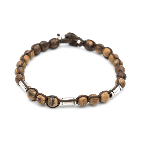 Handwoven Agarwood and Silver Bead Bracelet