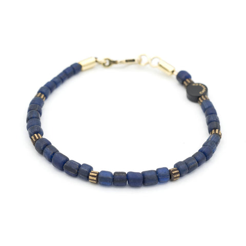 Solid Recycled Glass Bead and Brass Bracelet