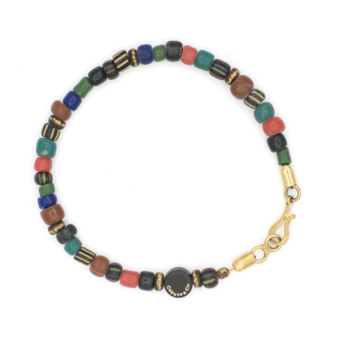 Multi Color Glass and Brass Beads Bracelet