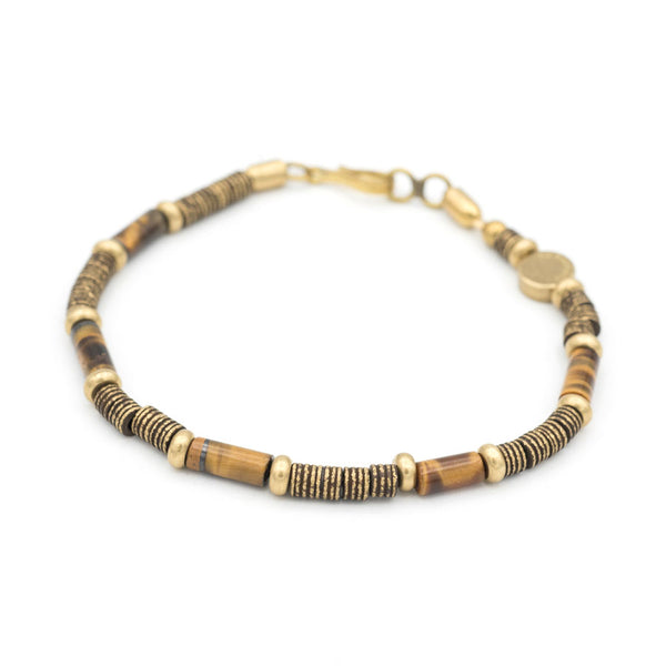 Barrel Gemstone and Brass Bead Bracelet