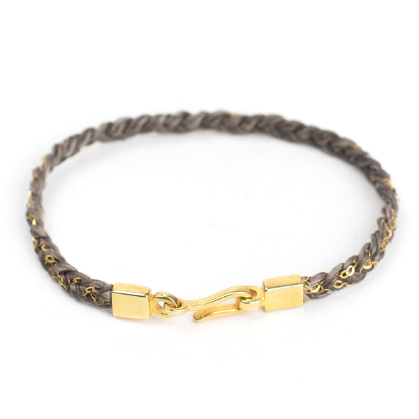 Hand-braided Chain and Cord Bracelet