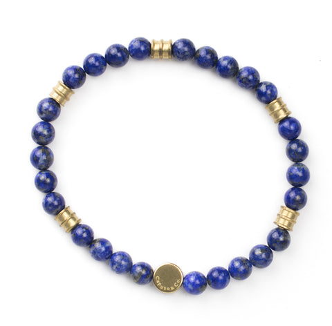 Gemstone and Brass Stretch Bracelet