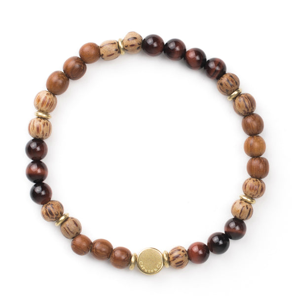 Gemstone and Wood Stretch Bracelet