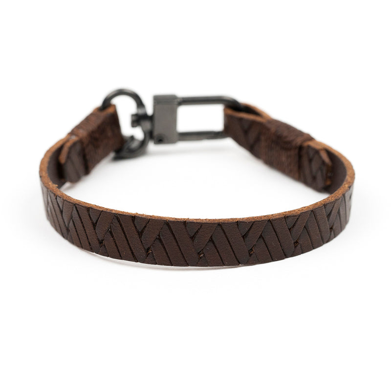 Embossed Braid Leather Bracelet