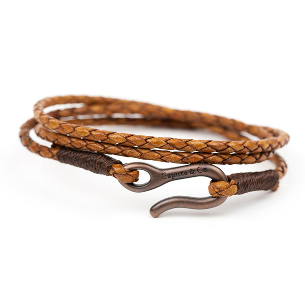 Braided Leather Triple Wrap