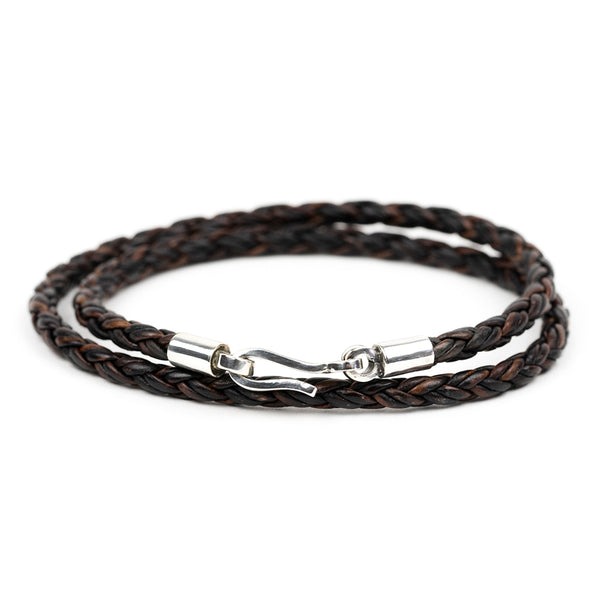 Silver Round Braided Leather Double Wrap