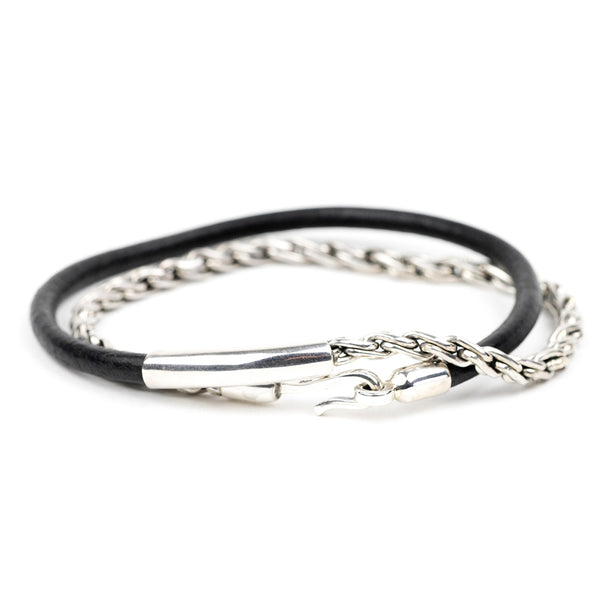 Silver Chain and Leather Bracelet