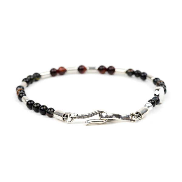 Silver Barrel Gemstone Bracelet