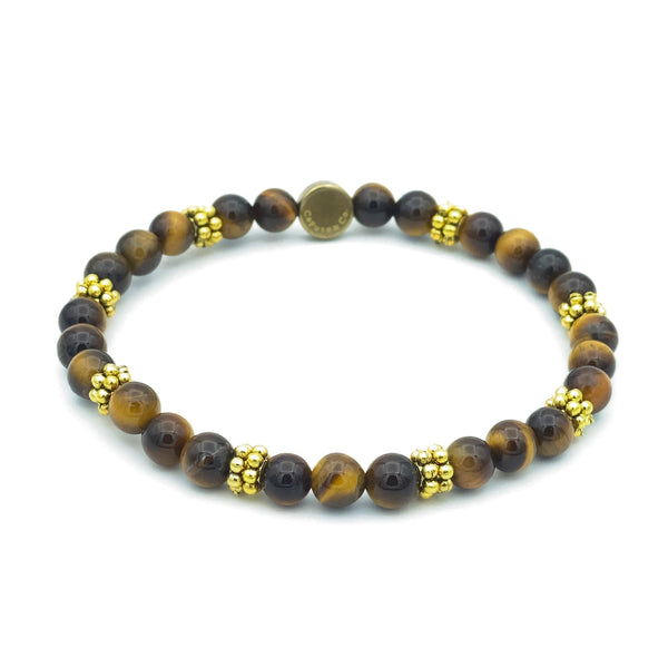 Gemstone Stretch Bracelet with Novelty Brass Spacers