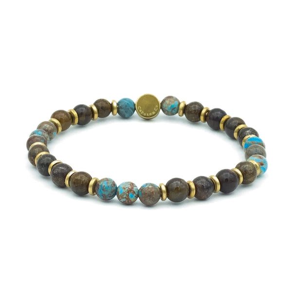 Gemstone and Brass Spacer Stretch Bracelet