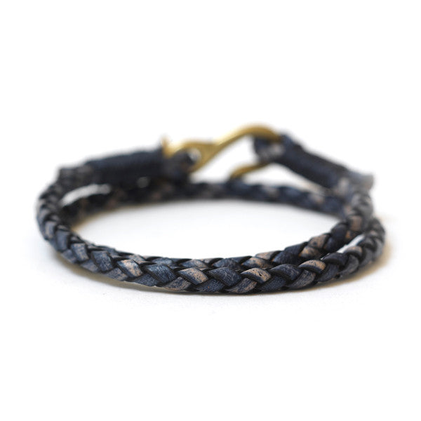 Braided Leather Double Wrap Bracelet