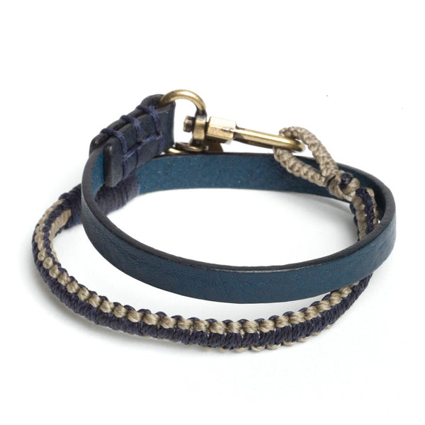 Hand-knotted Stripe Double Wrap Bracelet