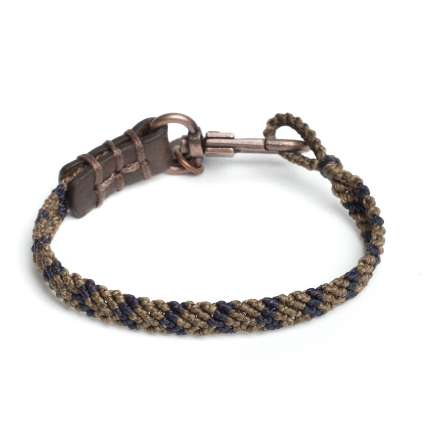 Caputo & Co. Hand-Knotted Stripe Bracelet - Brown/Navy
