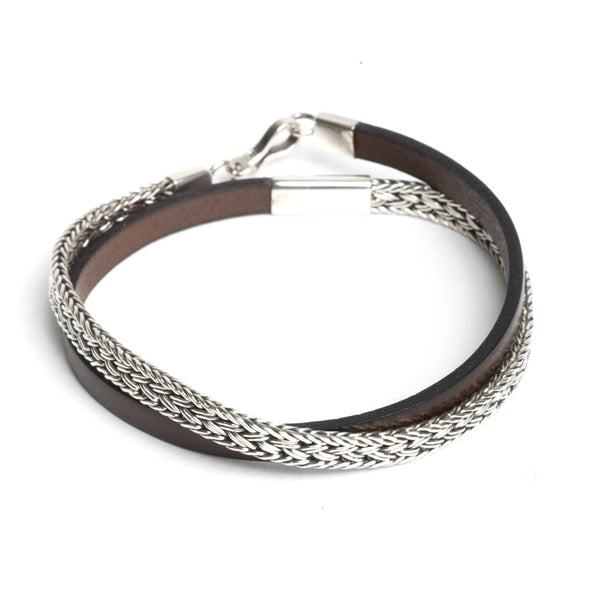 Artisan Silver and Leather Double Wrap