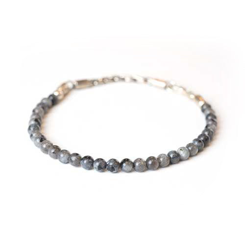 Silver Chain Rope and Gemstone Bracelet