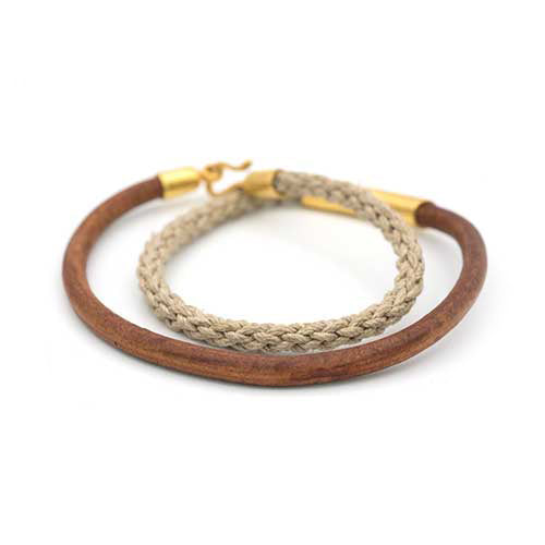 Leather Cord and Jute Bracelet
