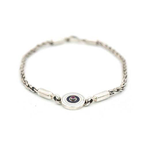 Diamond Cut Ruby Evil Eye Bracelet