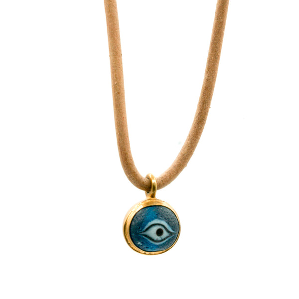 Nepalese Eye Glass Leather Necklace