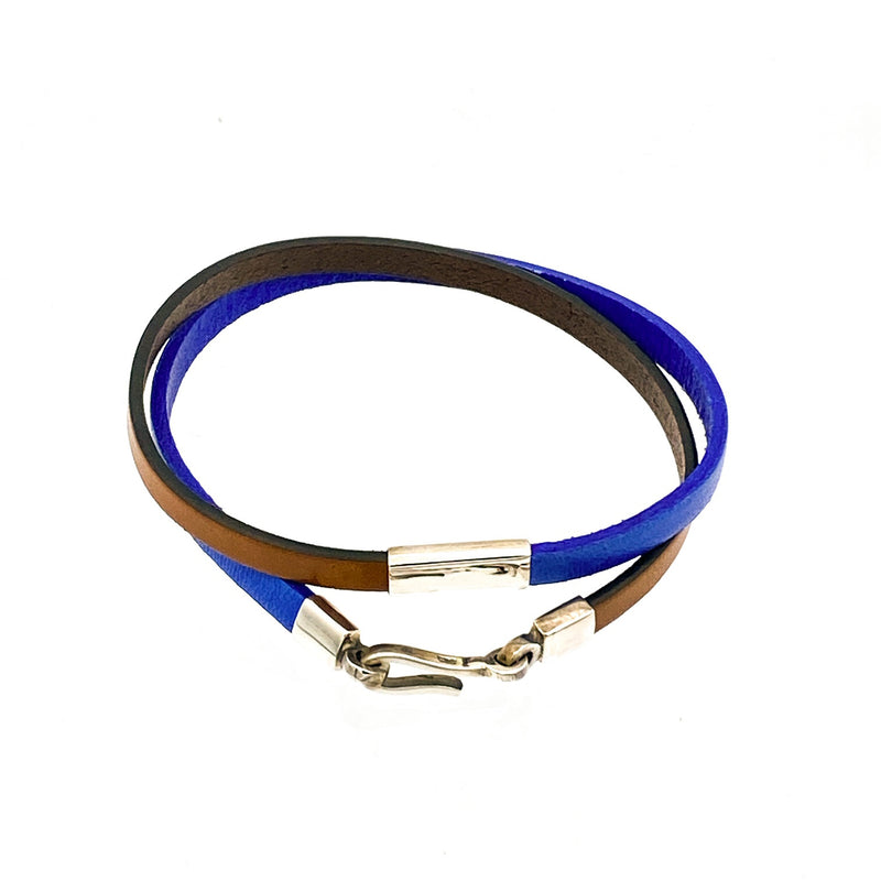 Color-Blocked Leather Double Wrap