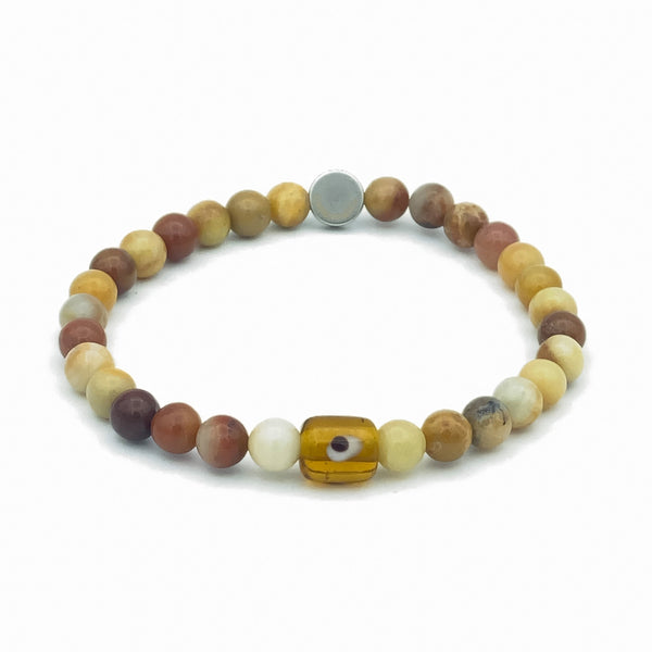 Evil Eye Glass And Gemstone Stretch Bracelet