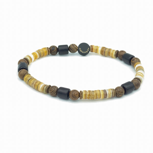 Shell and Wood Stretch Bracelet