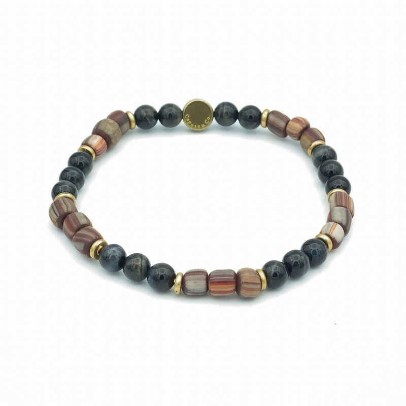 Gemstone And Java Glass Stretch Bracelet
