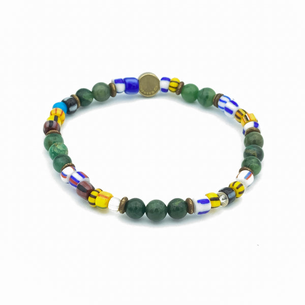 African Glass Beads And Gemstone Stretch Bracelet