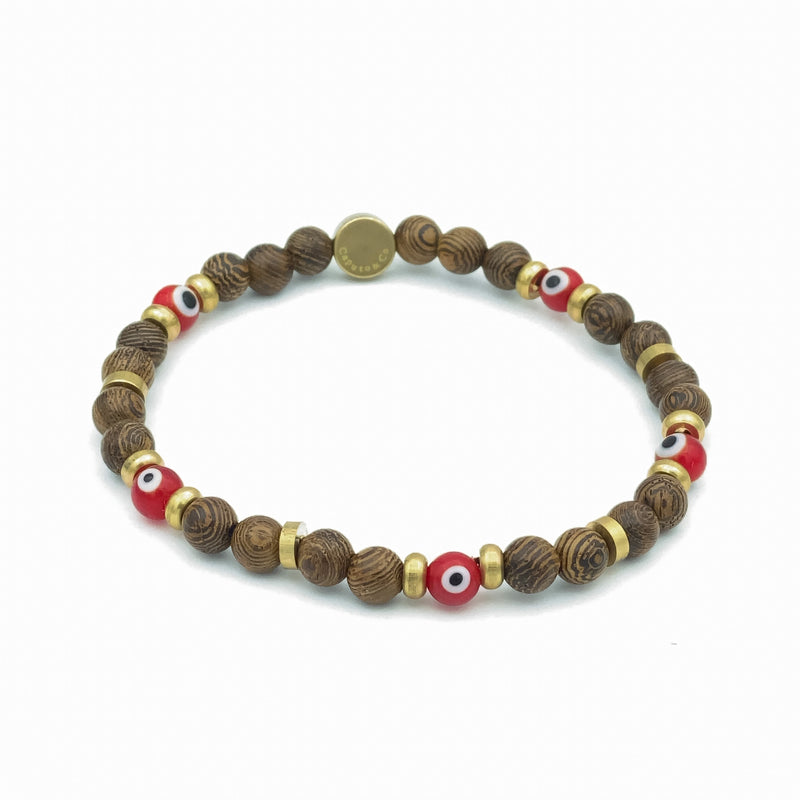 Evil Eye Glass And Wood Stretch Bracelet