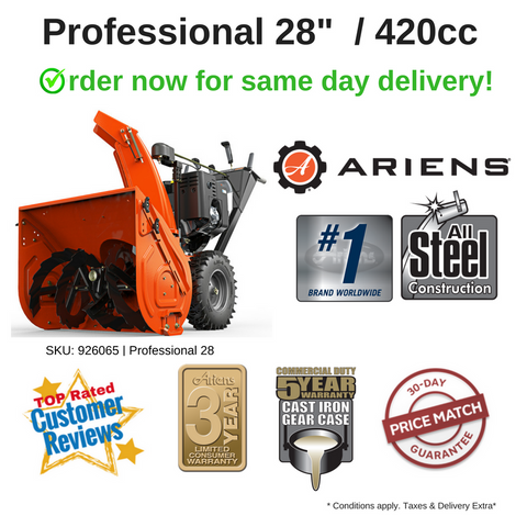 "FROM $ 75/MONTH : PROFESSIONAL 28"" SNO-THRO +  420CC ARIENS POLAR FORCE PRO ENGINE [926065]"