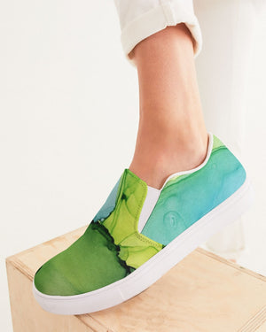 Ethereal | Green Watercolor Women's Slip-On Canvas Shoe - Katrynthia Law