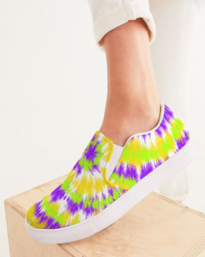 Tie Dye | Yellow, Purple, Green Women's Slip-On Canvas Shoe - Katrynthia Law