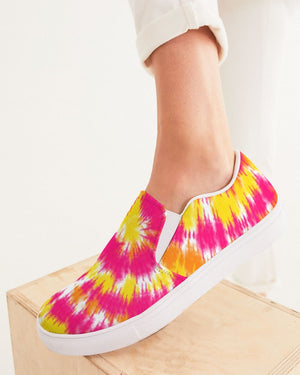 Tie Dye | Yellow, Orange, Pink, White Women's Slip-On Canvas Shoe - Katrynthia Law