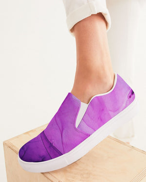 Ethereal | Purple Watercolor Women's Slip-On Canvas Shoe - Katrynthia Law