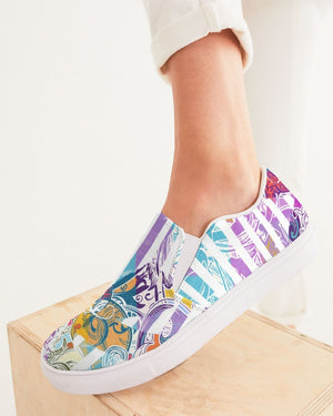 Dreamscape | White Rainbow Women's Slip-On Canvas Shoe - Katrynthia Law
