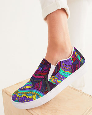 Psychedelic | Feline Glimpse Women's Slip-On Canvas Shoe - Katrynthia Law