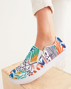 Floral | Green Leaves Women's Slip-On Canvas Shoe - Katrynthia Law